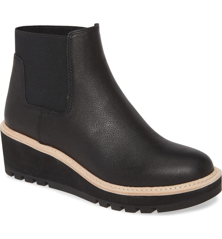 EILEEN FISHER Wedge Chelsea Boot, Main, color, BLACK LEATHER