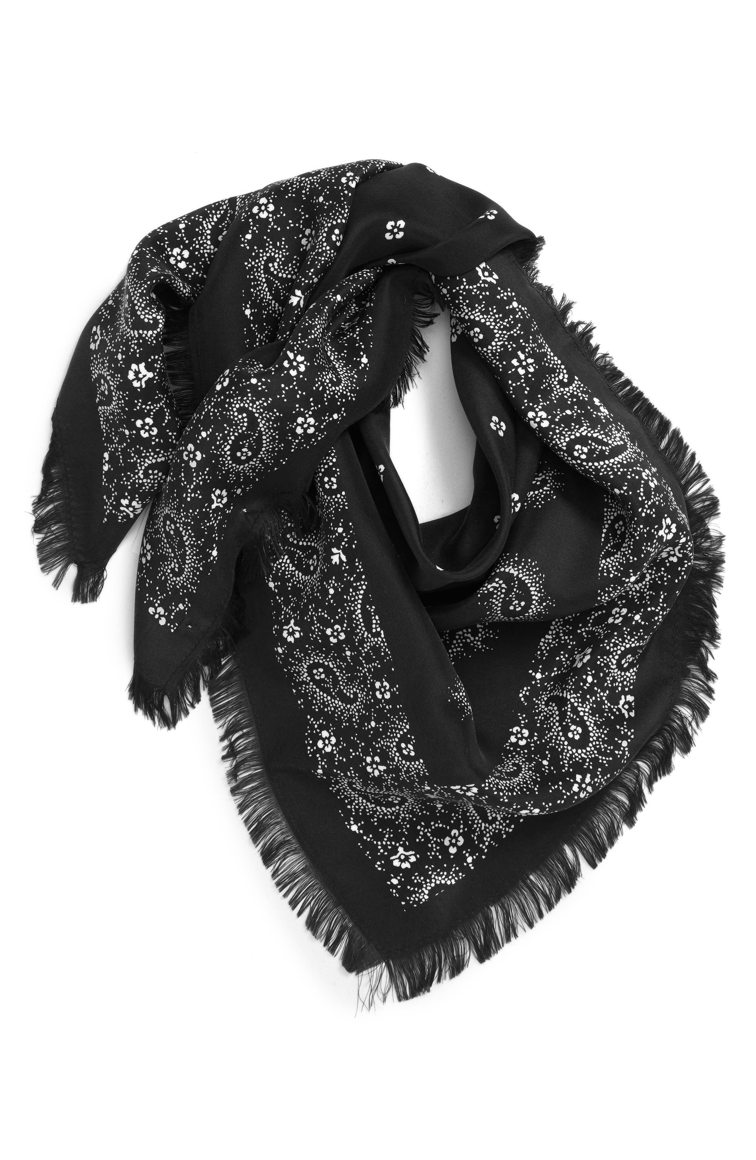 A beautifully quilted landscape stretches across this lightly fringed silk scarf popping with homespun patterning. When you buy Treasure & Bond, Nordstrom will donate 2.5% of net sales to organizations that work to empower youth. Style Name: Treasure & Bond Print Square Silk Scarf. Style Number: 5625514. Available in stores.
