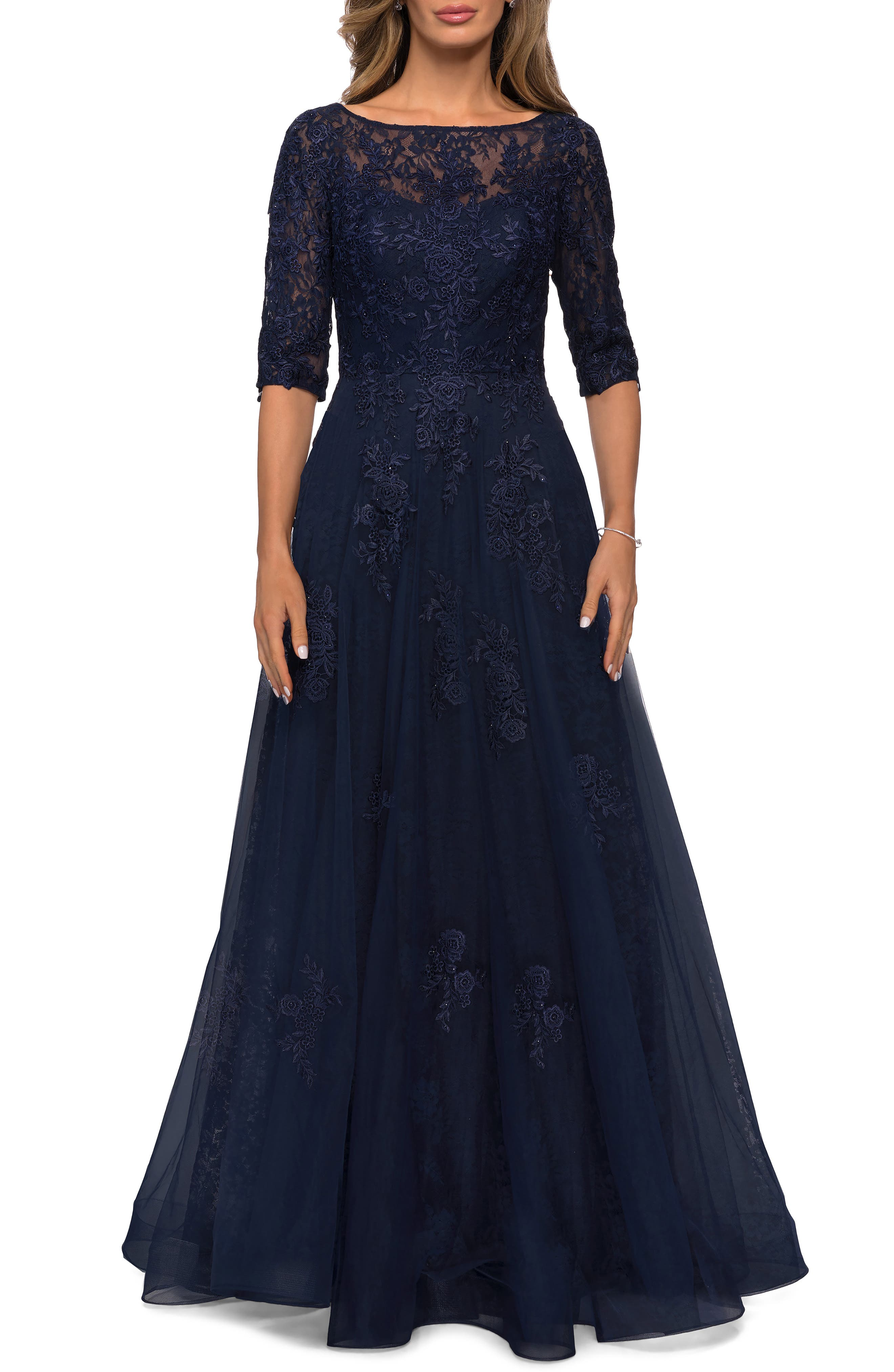 1950s Formal Dresses & Evening Gowns to Buy Womens La Femme Floral Lace  Tulle Gown Size 8 - Blue $538.00 AT vintagedancer.com