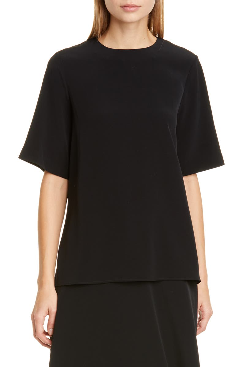 CO Crepe Tee, Main, color, BLACK