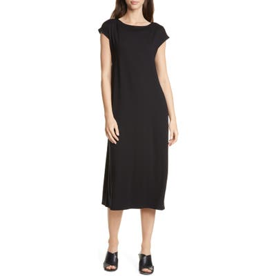 Eileen Fisher Stretch Tencel Lyocell Midi Dress, Black
