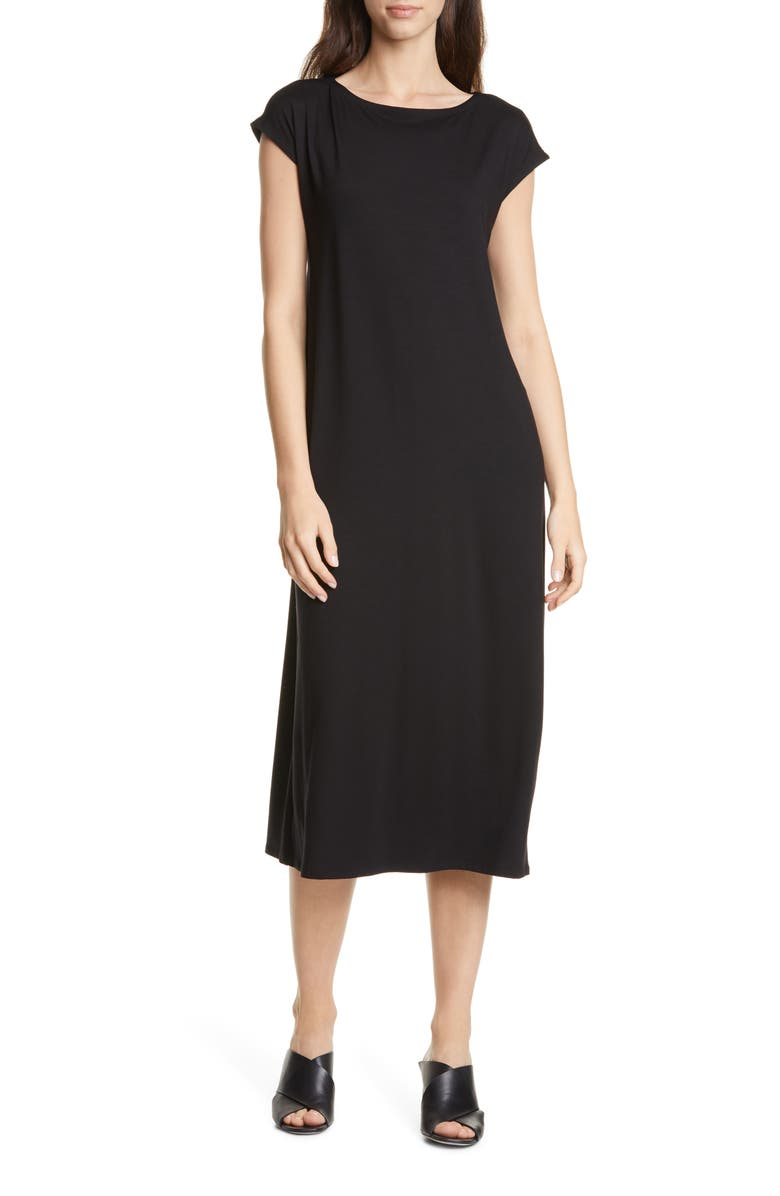 EILEEN FISHER Stretch Tencel<sup>®</sup> Lyocell Midi Dress, Main, color, BLACK