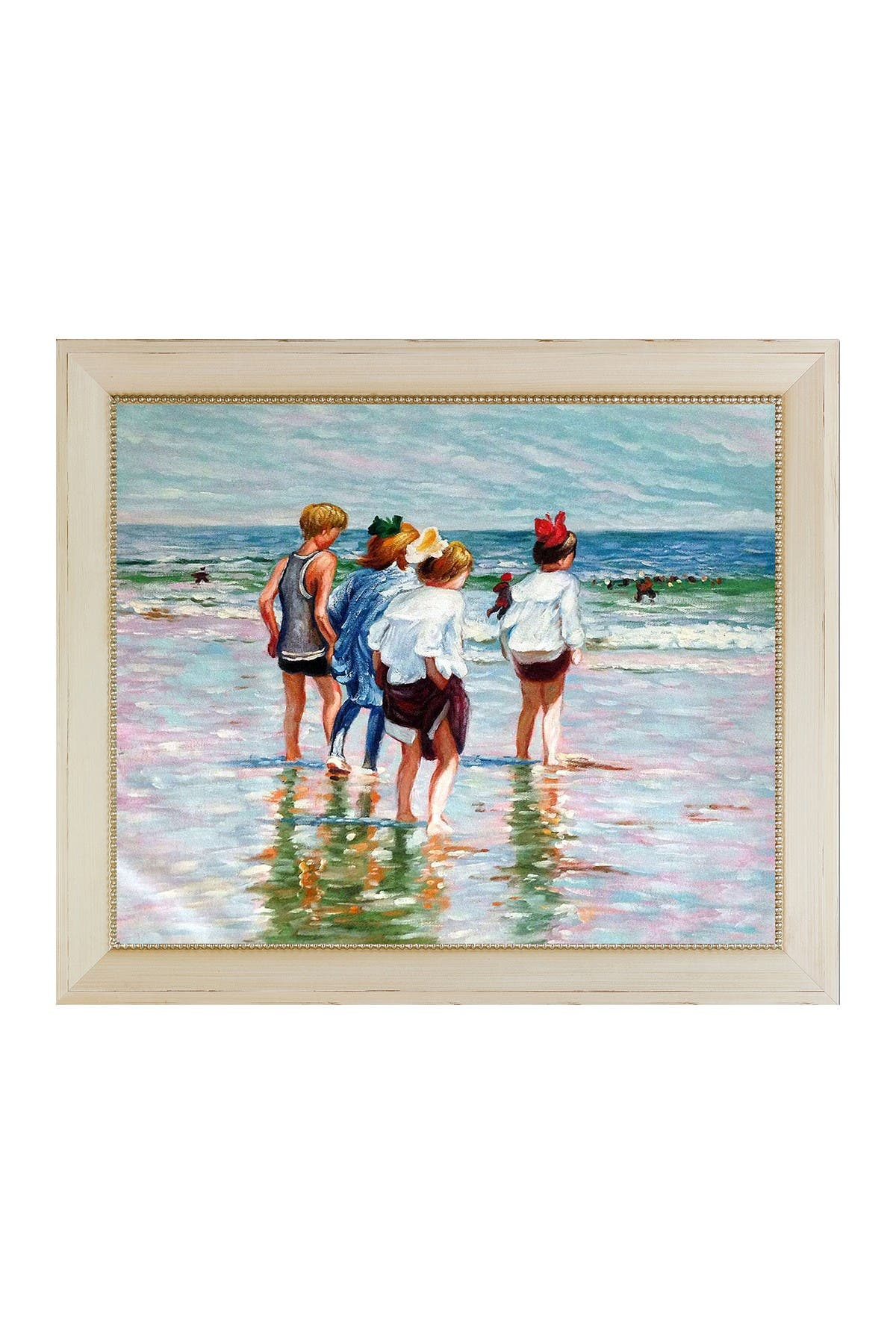 Image of Overstock Art Summer Day, Brighton Beach by Edward Henry Potthast Framed Hand Painted Oil Reproduction
