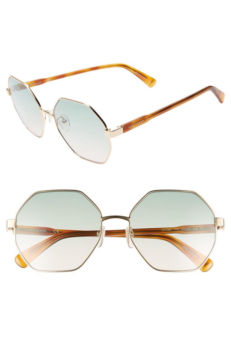 LONGCHAMP Le Pliage 57mm Gradient Octagonal Sunglasses, Main, color, DEEP GOLD