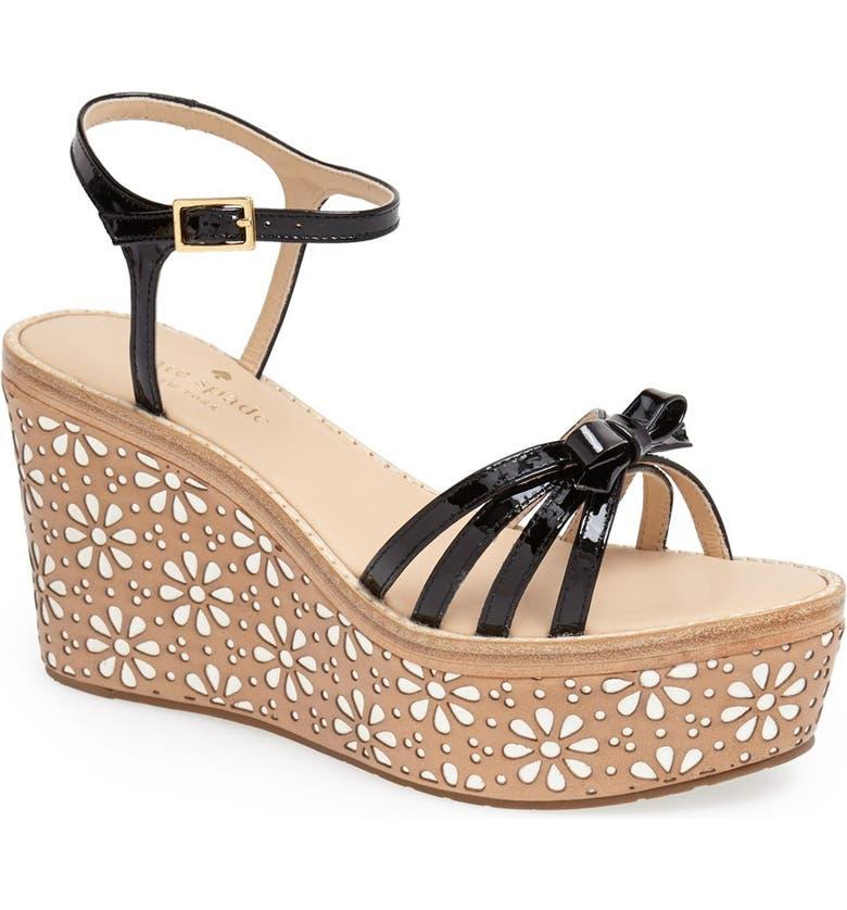 KATE SPADE NEW YORK 'titi' wedge sandal, Main, color, 001