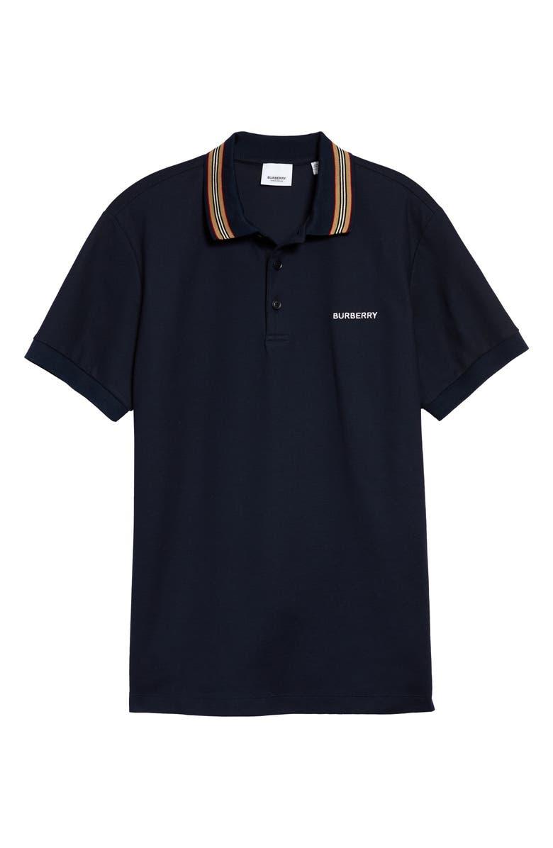 BURBERRY Johnston Icon Stripe Short Sleeve Piqué Polo, Main, color, NAVY