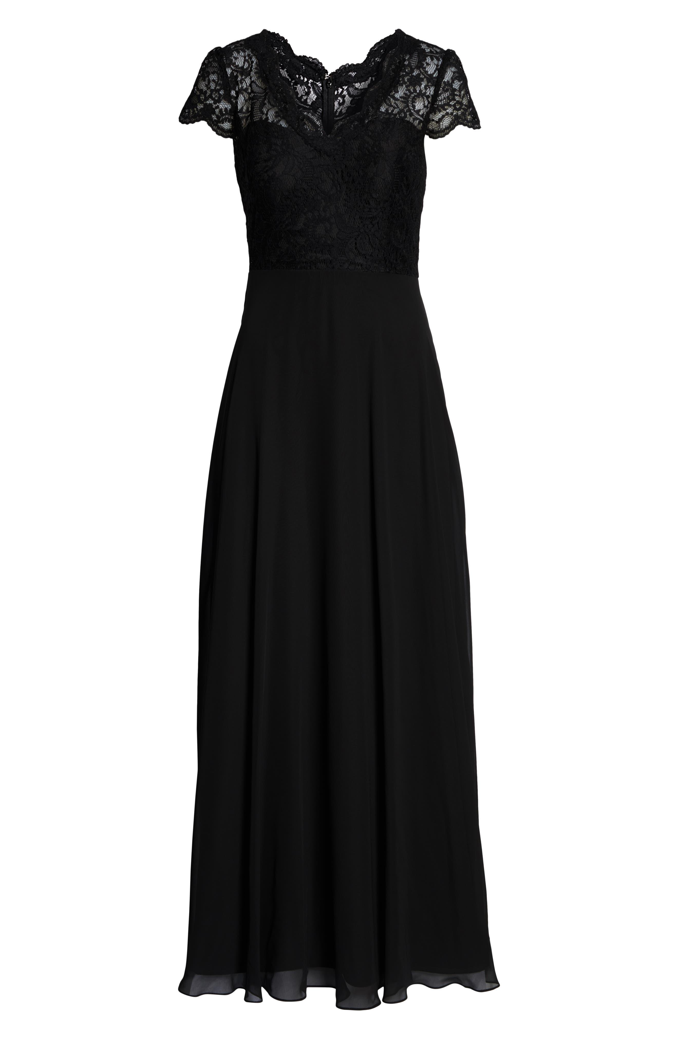 ,                             Cap Sleeve Lace & Chiffon Gown,                             Alternate thumbnail 3, color,                             BLACK