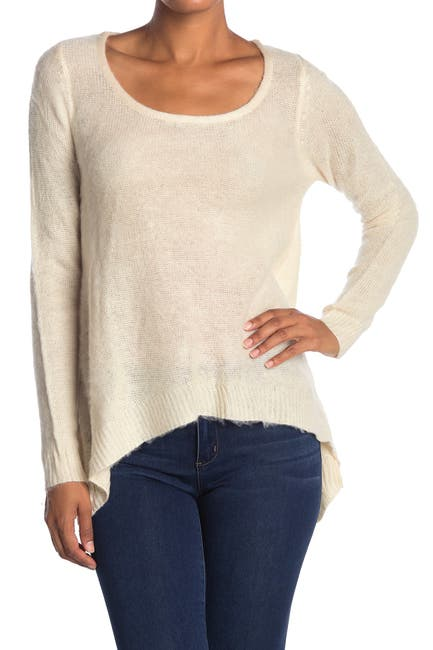 Image of Vertigo Hi-Lo Scoop Neck Fuzzy Pullover Sweater