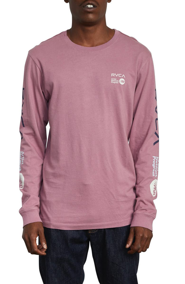 RVCA ANP Long Sleeve T-Shirt, Main, color, MAUVE