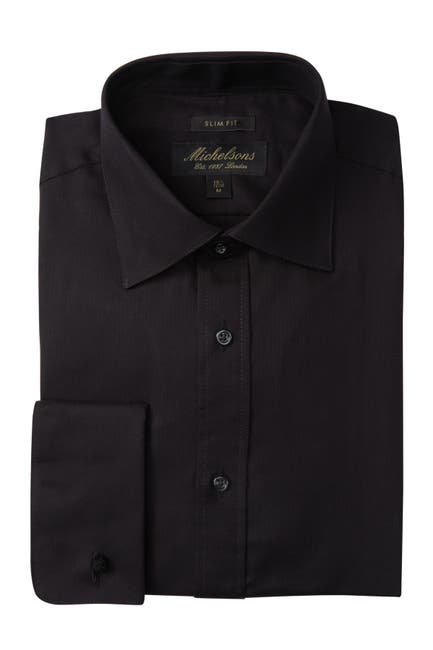 Image of Michelson's Solid Textured Slim Fit Tuxedo Dress Shirt