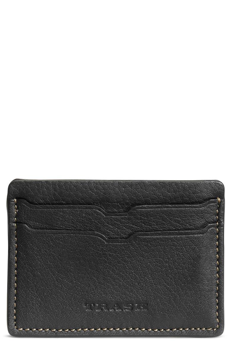 TRASK Jackson Leather Card Case, Main, color, BLACK NORWEGIAN ELK