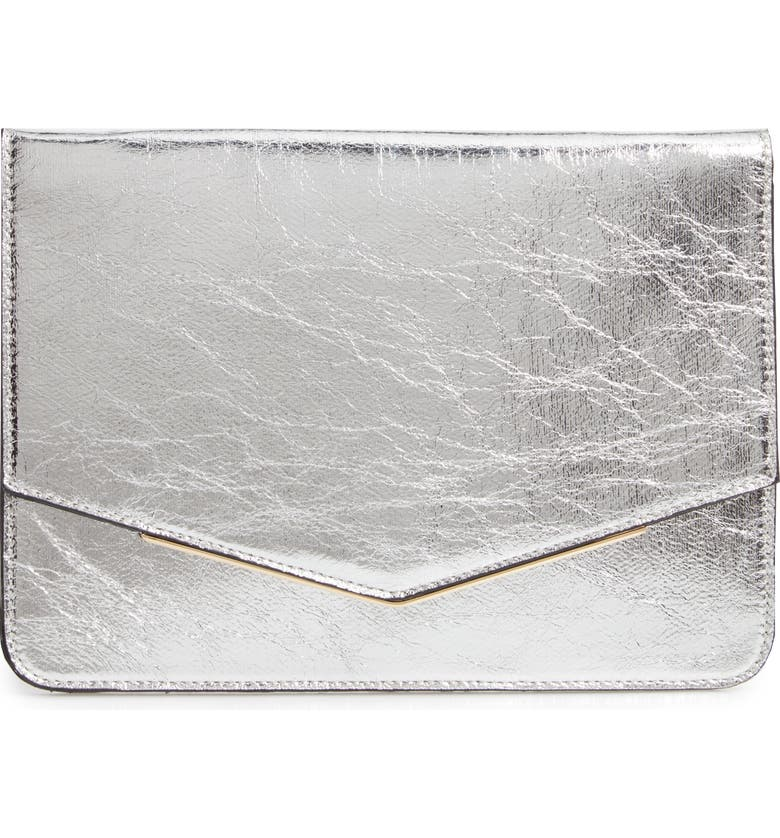 MALIBU SKYE Metallic Faux Leather Clutch, Main, color, 040
