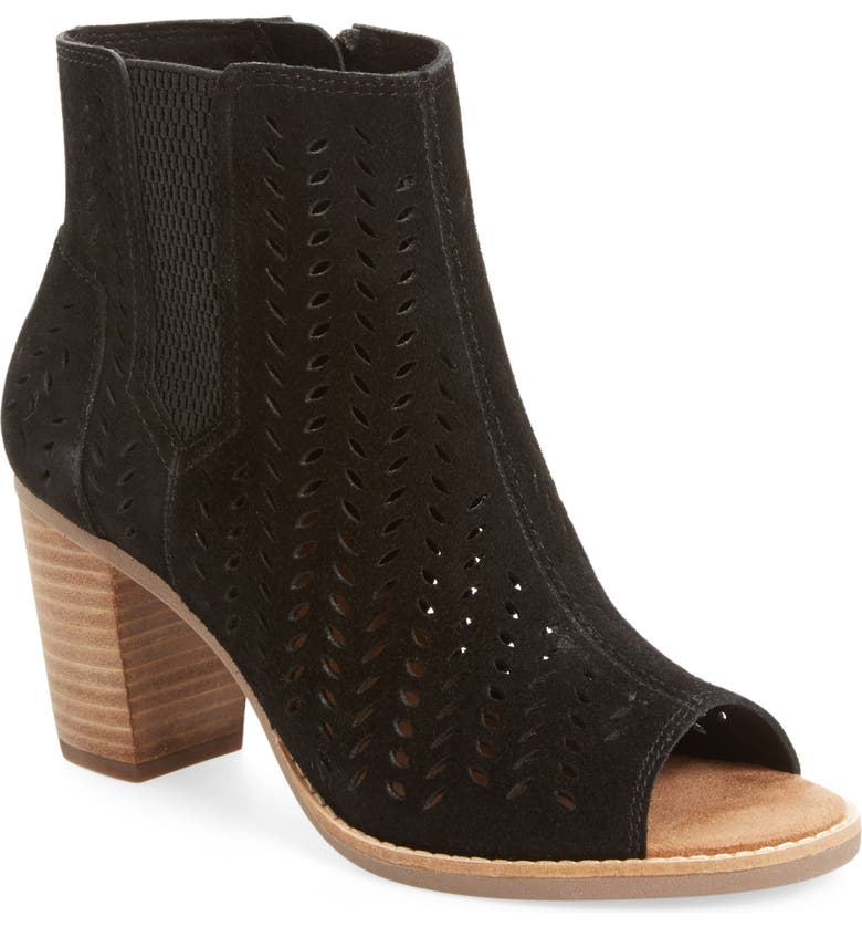 TOMS Majorca Perforated Suede Bootie, Main, color, 001