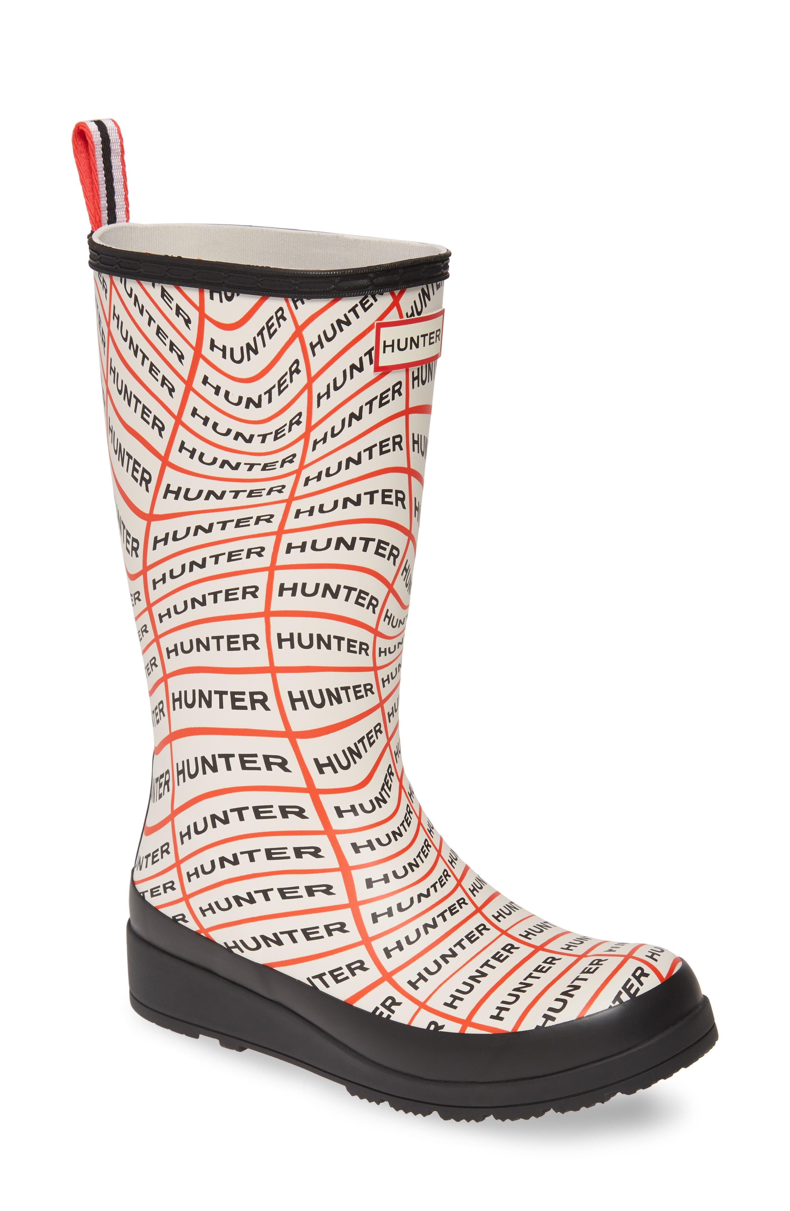 Hunter Original Play Tall Waterproof Rain Boot, Red
