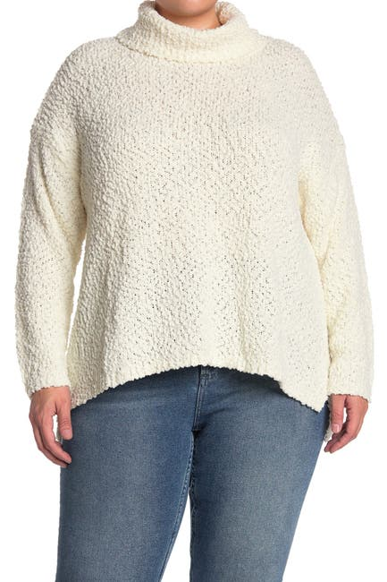 Image of Bobeau Cowl Neck Boucle Knit Sweater