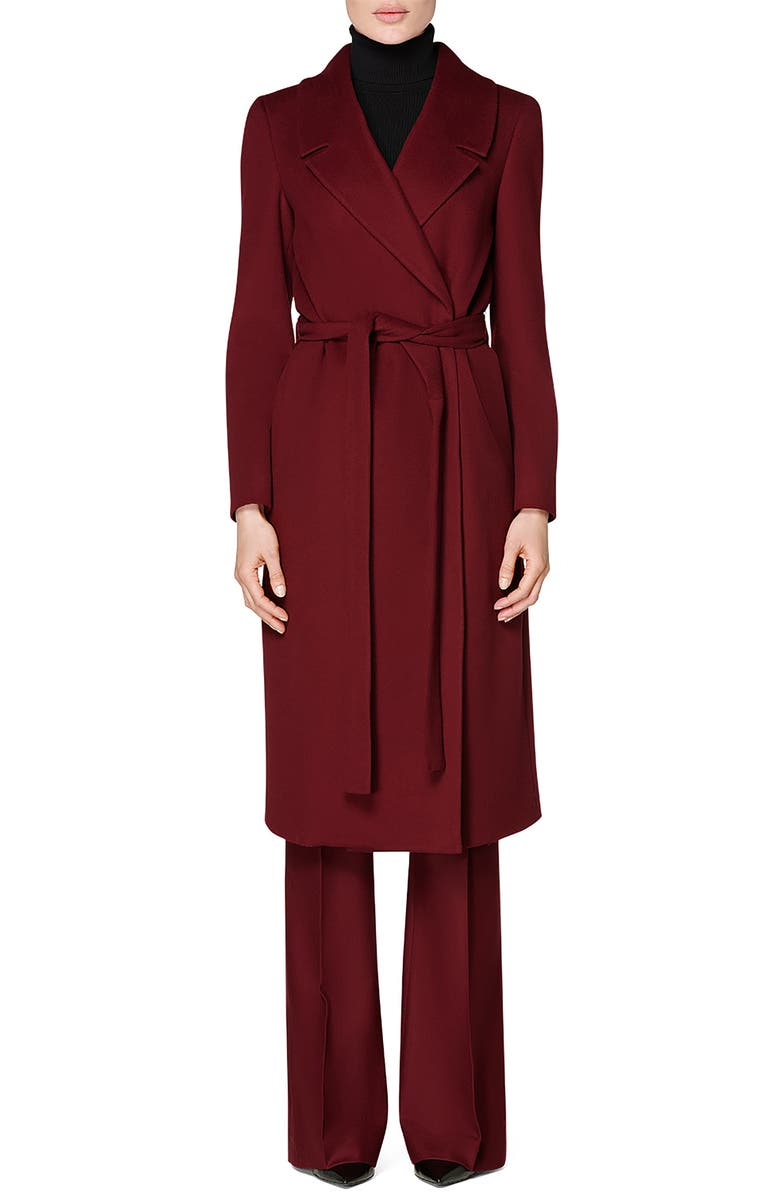 SUISTUDIO Blake Tie Belt Wool Coat, Main, color, BURGUNDY