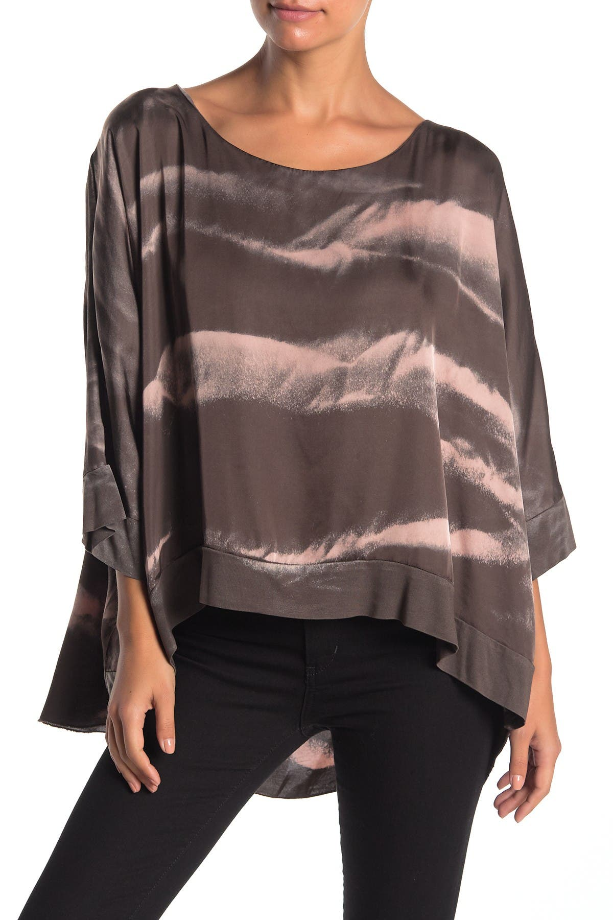 Image of Lola Made In Italy 3/4 Sleeve Poncho Printed Blouse