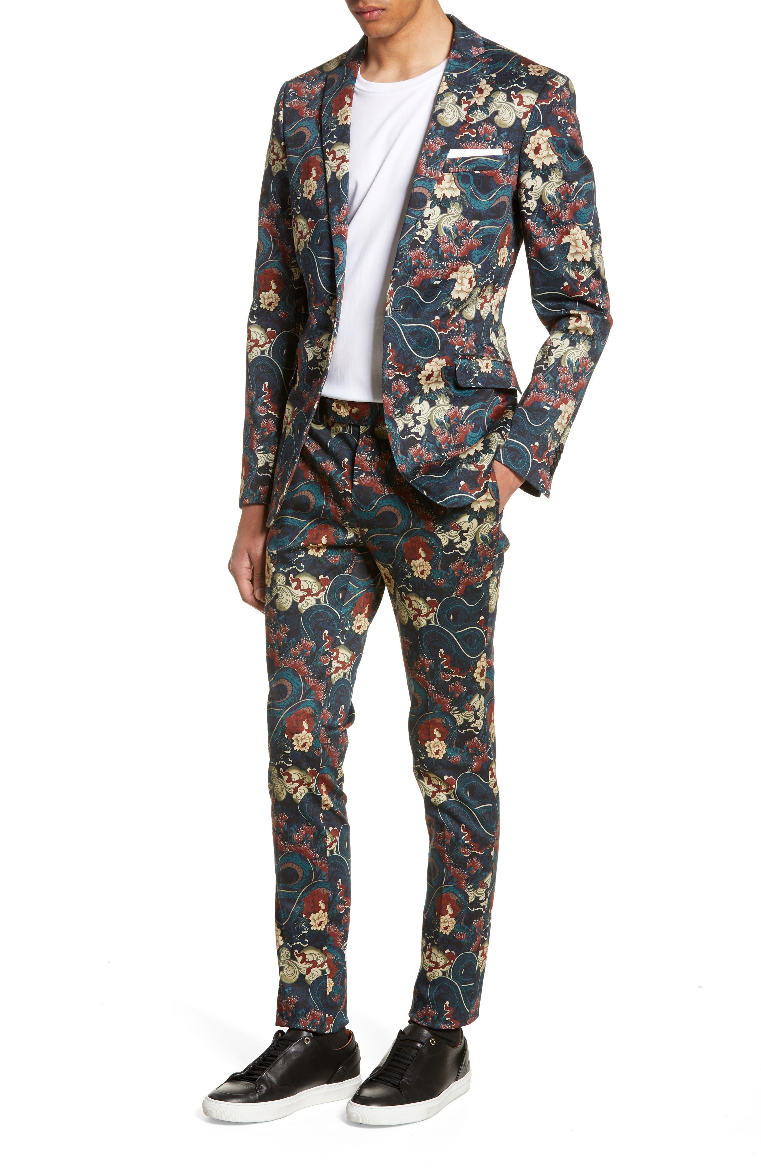 ,                             Skinny Fit Japan Print Suit Jacket,                             Alternate thumbnail 7, color,                             BLACK