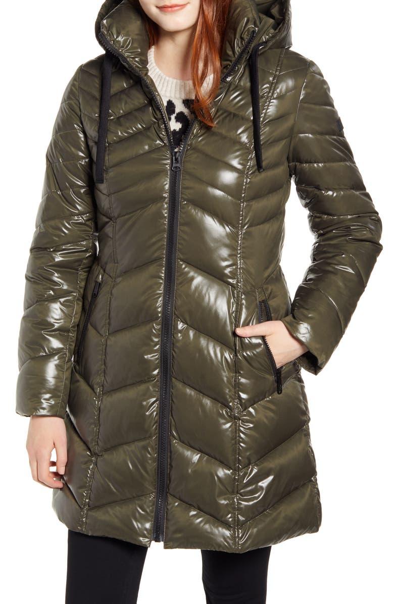 SAM EDELMAN Hooded Puffer Jacket, Main, color, SPRUCE