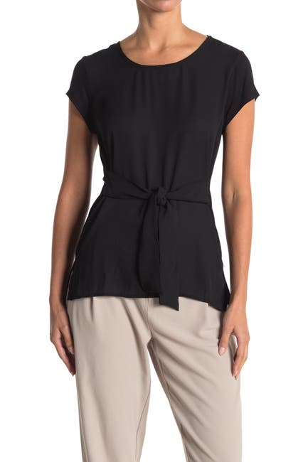 Image of H HALSTON Short Sleeve Tie T-Shirt