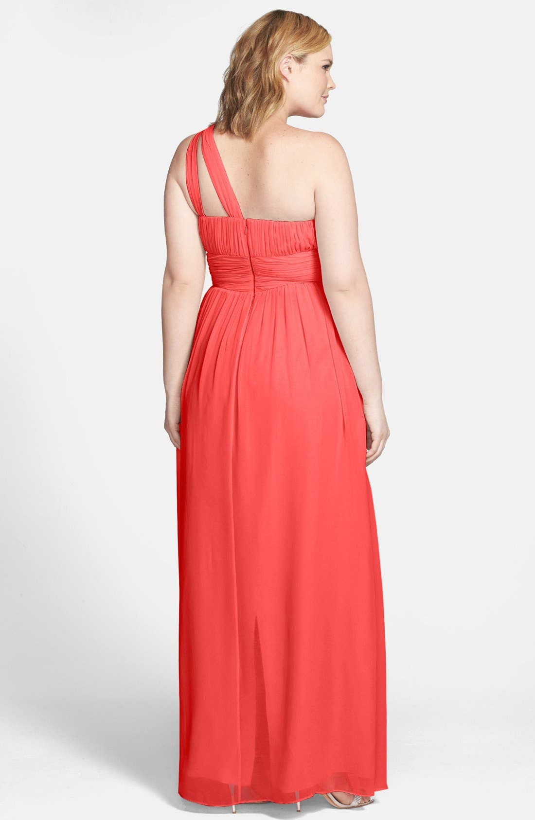 ,                             'Rachel' Ruched One-Shoulder Chiffon Gown,                             Alternate thumbnail 144, color,                             955