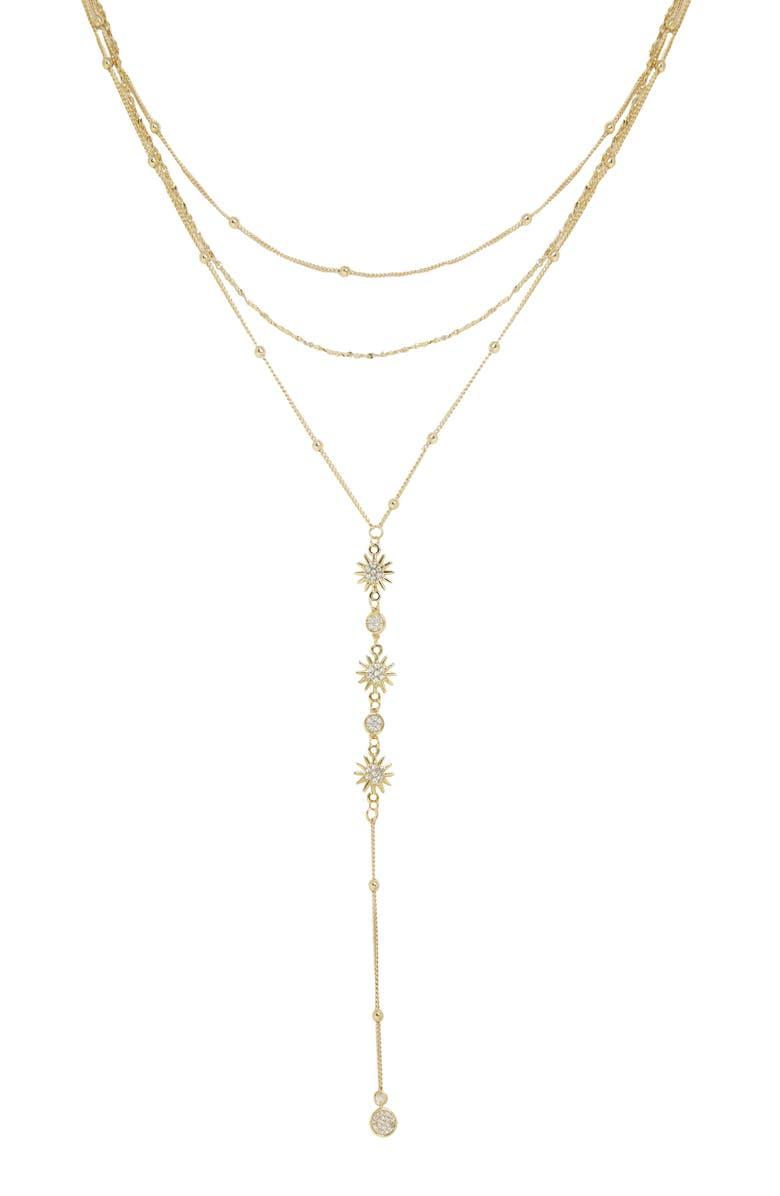 ETTIKA Sunburst Y-Necklace, Main, color, GOLD