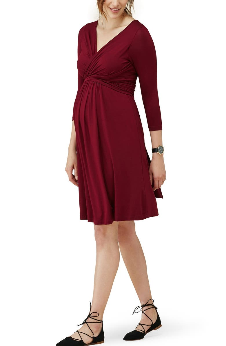 ISABELLA OLIVER 'Emily' Maternity Dress, Main, color, BITTER CHOCOLATE