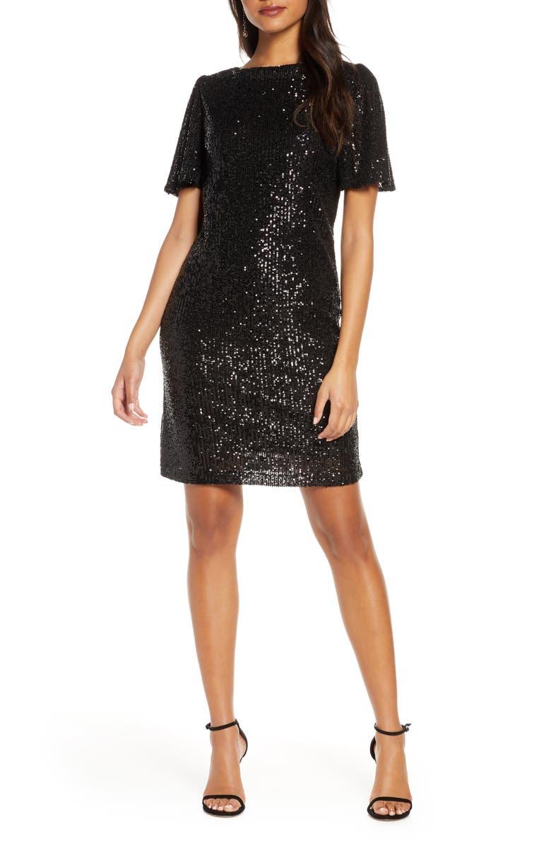 FOREST LILY Sequin Flutter Sleeve Shift Dress, Main, color, 001