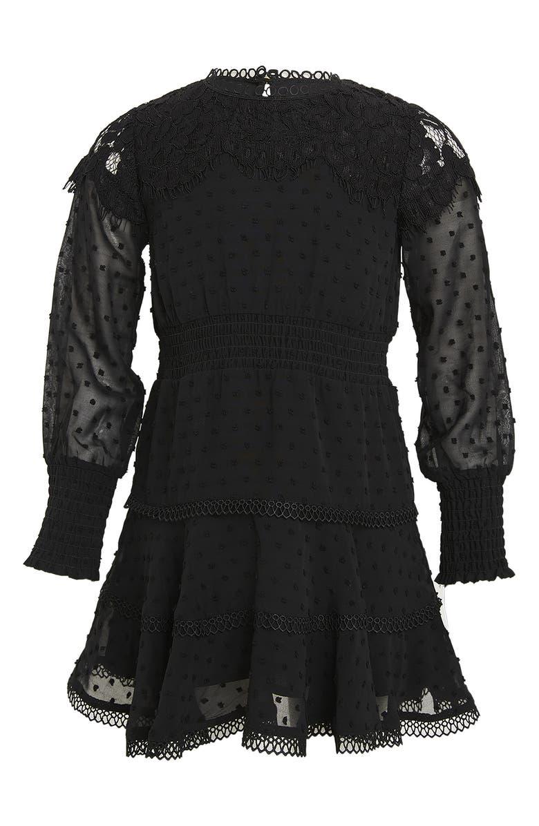 BARDOT JUNIOR Liana Lace & Fil Coupé Long Sleeve Dress, Main, color, BLACK