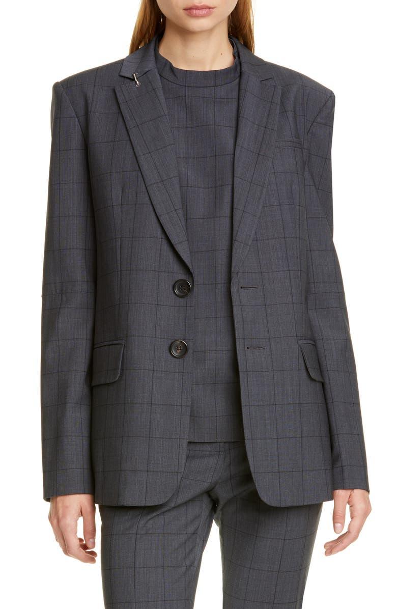 TIBI Windowpane Menswear Blazer, Main, color, GREY MULTI