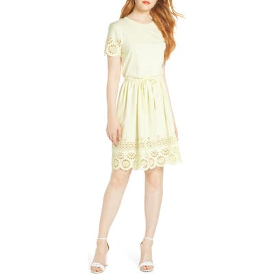 French Connection Santoline Cotton Eyelet Jersey Fit & Flare Dress, Yellow