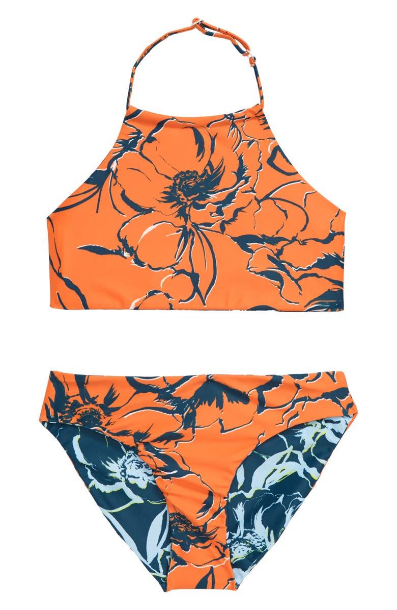 ZELLA GIRL Just Breathe Reversible Two-Piece Swimsuit, Main, color, BLUE CERAMIC PAOLO FLORAL PRT