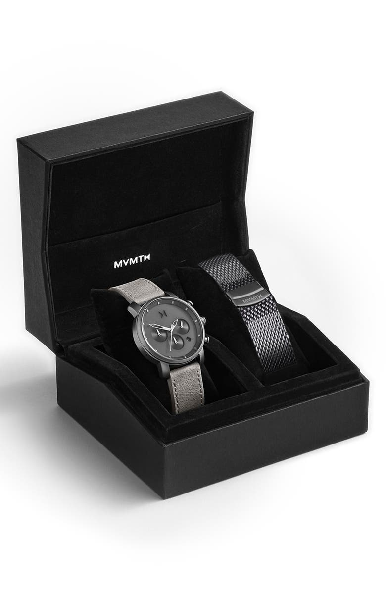 MVMT The Chrono Chronograph Leather Strap Watch & Mesh Strap Set, 40mm, Main, color, SILVER/ GREY/ SILVER