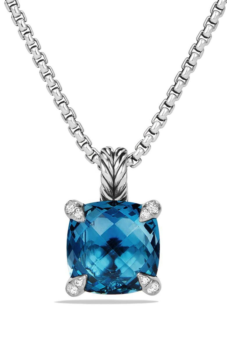 DAVID YURMAN 'Châtelaine' Pendant Necklace with Semiprecious Stone & Diamonds, Main, color, SILVER/ HAMPTON BLUE TOPAZ