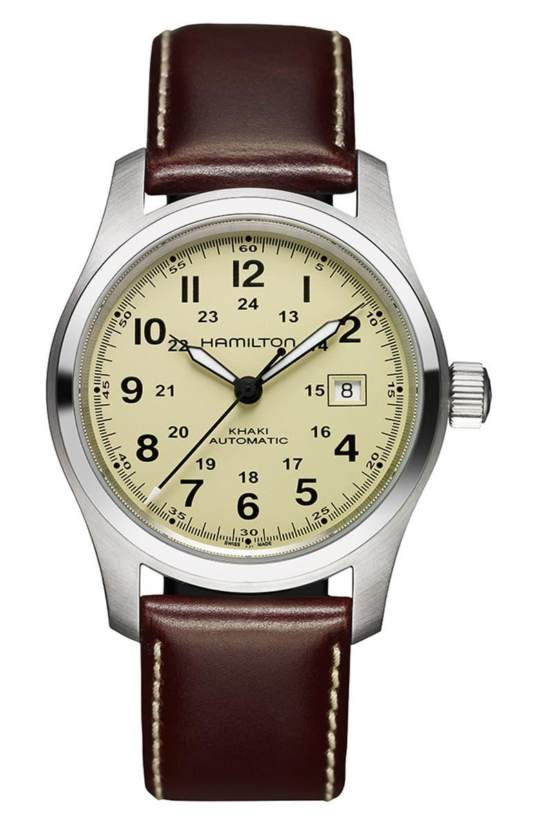 HAMILTON Khaki Field Automatic Leather Strap Watch, 42mm, Main, color, 200