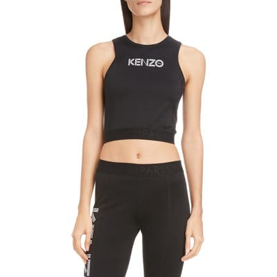 Kenzo Logo Stretch Cotton Crop Top, Black