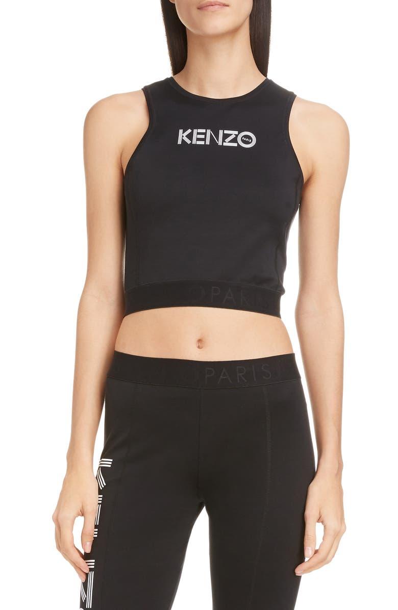 KENZO Logo Stretch Cotton Crop Top, Main, color, BLACK