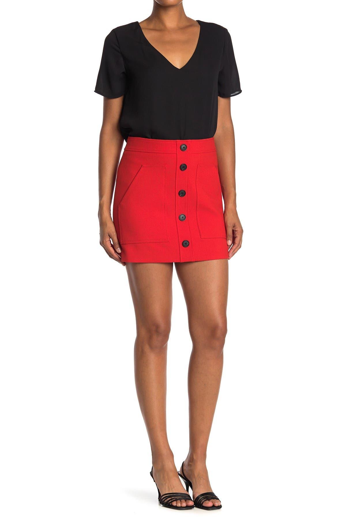 Image of VERONICA BEARD Fisher Button Front Linen Blend Mini Skirt