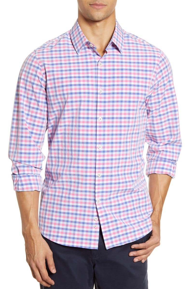 MOVE PERFORMANCE APPAREL Check Button-Up Shirt, Main, color, 680