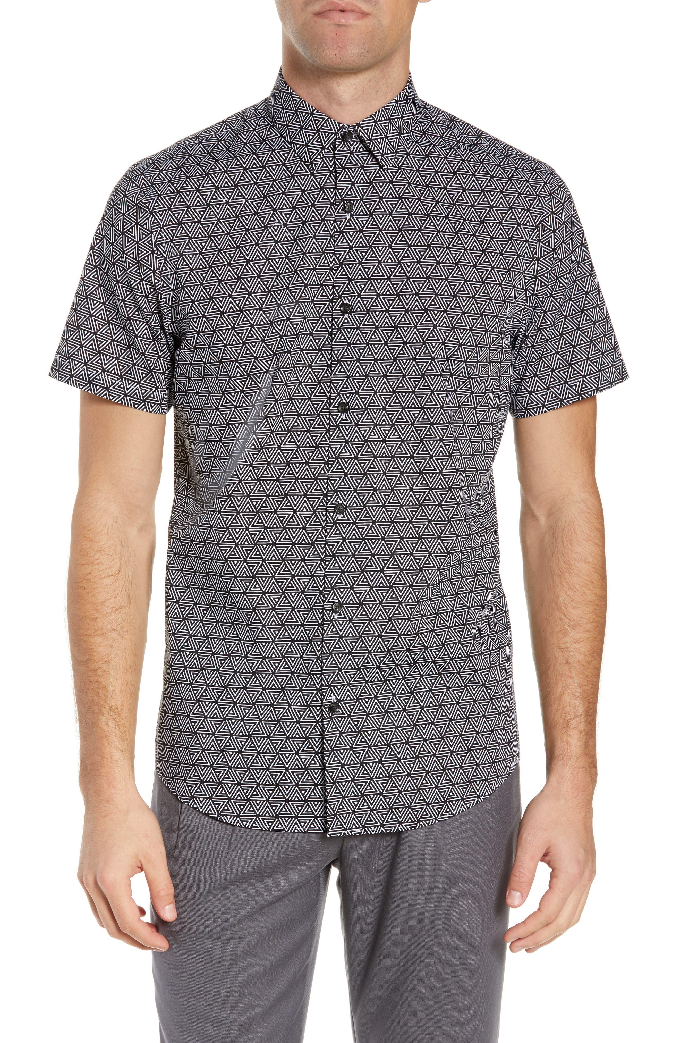 Calibrate Geo Print Slim Fit Sport Shirt, Black