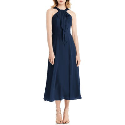 Jenny Packham Halter Neck Chiffon Midi Dress, Blue