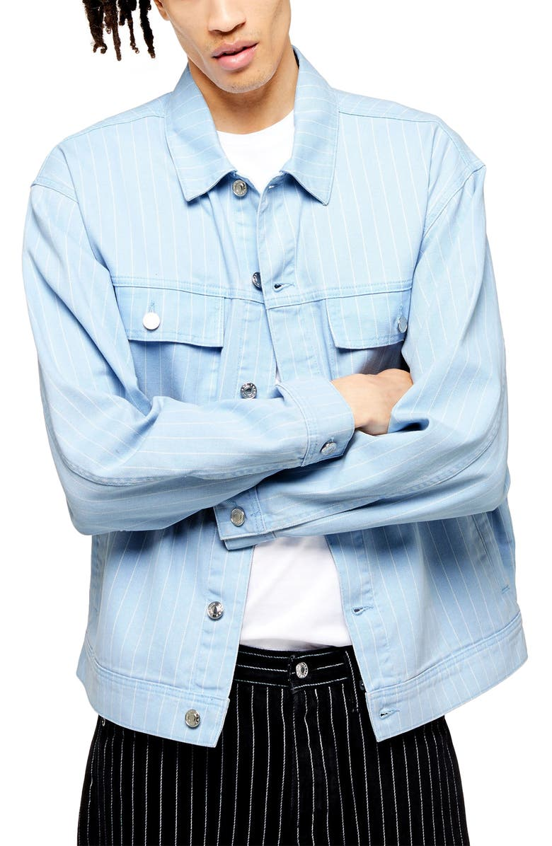 TOPMAN Bleach Stripe Denim Jacket, Main, color, 450