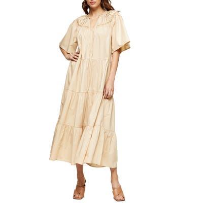 Topshop Smocked Poplin Midi Dress, US - Beige