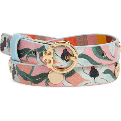 Tory Burch Reversible Print Double Wrap Leather Bracelet