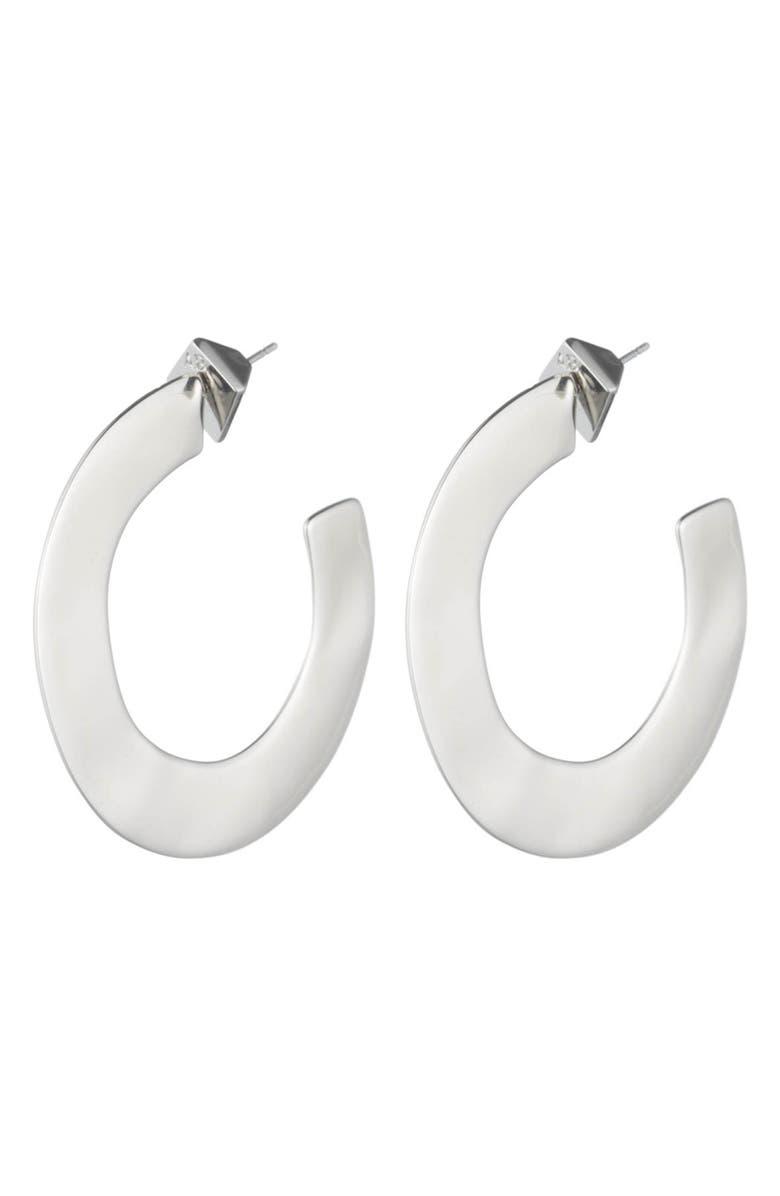 ALEXIS BITTAR Liquid Metal Orbit Hoop Earrings, Main, color, SILVER