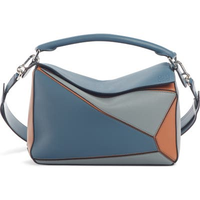 Loewe Medium Puzzle Colorblock Leather Bag - Blue