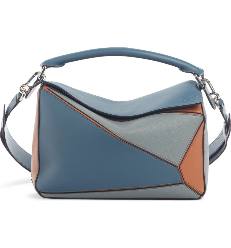 LOEWE Medium Puzzle Colorblock Leather Bag, Main, color, STEEL BLUE/ TAN