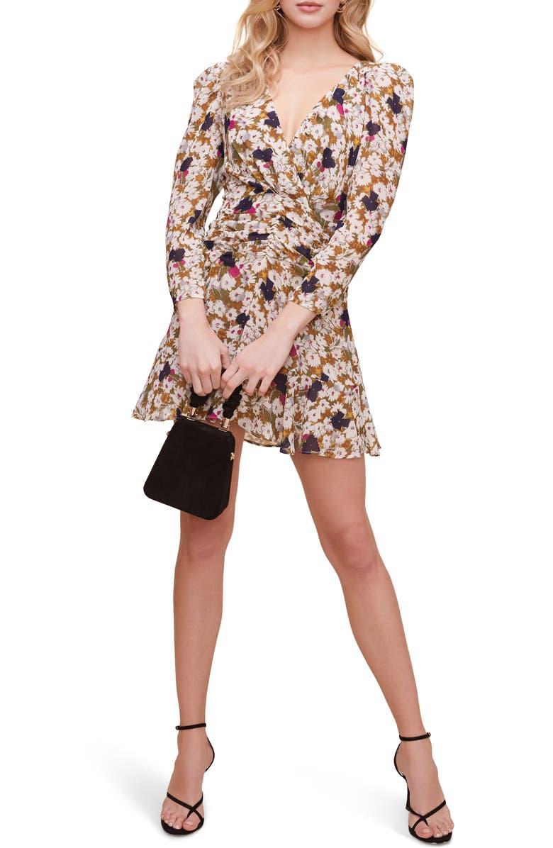 ASTR THE LABEL Floral Ruched Waist Minidress, Main, color, OLIVE FLORAL