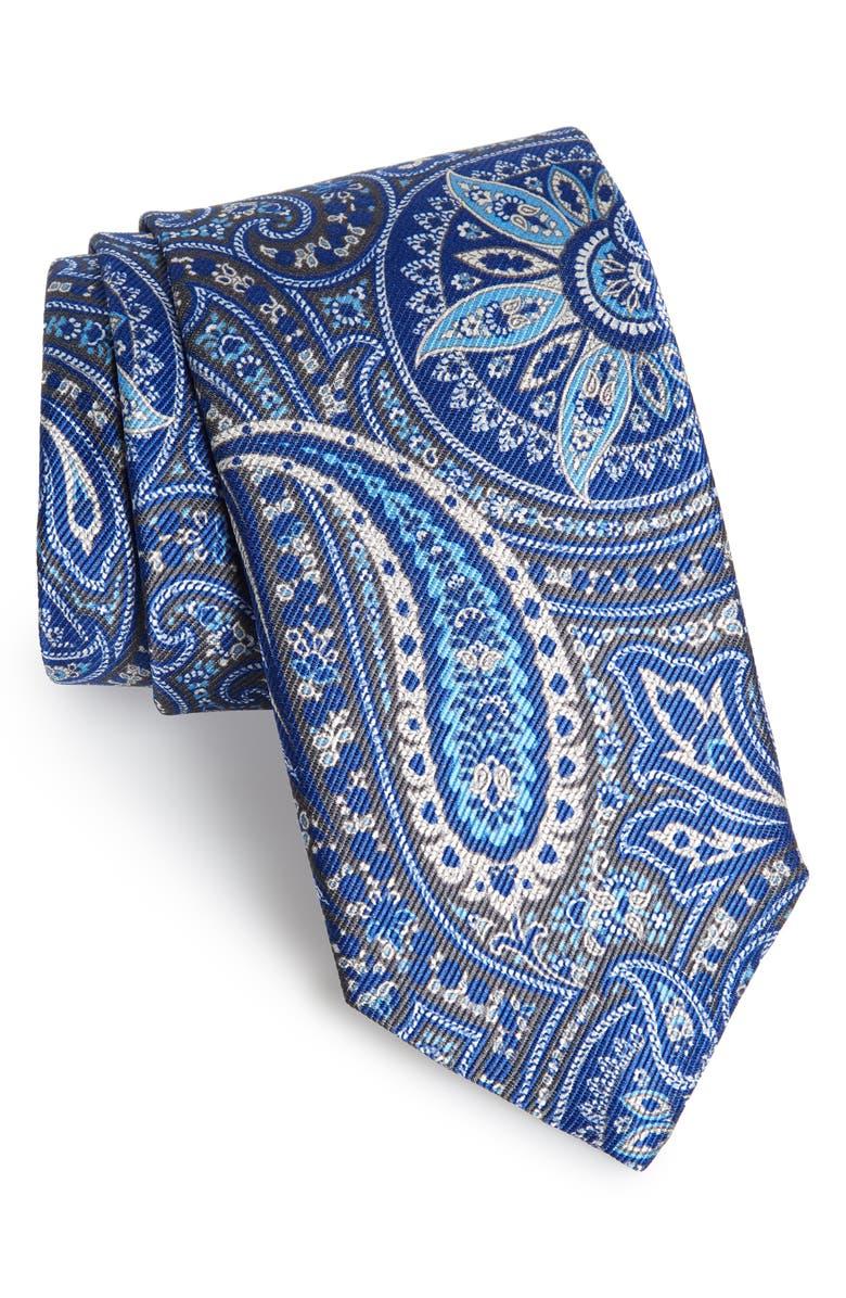 DAVID DONAHUE Paisley Silk Tie, Main, color, CHARCOAL