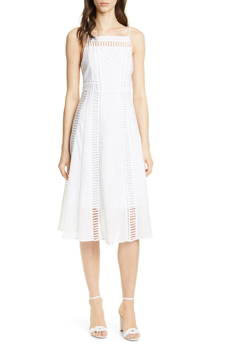 DOLAN Bronwyn Cutout Detail White Cotton Midi Dress, Main, color, WHITE